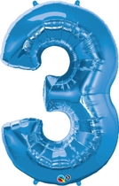 Number 3 Giant Foil Balloon - Sapphire Blue 34""