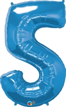 Number 5 Giant Foil Balloon - Sapphire Blue 34""
