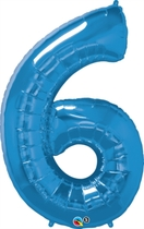 Number 6 Giant Foil Balloon - Sapphire Blue 34""