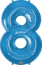 Number 8 Giant Foil Balloon - Sapphire Blue 34""