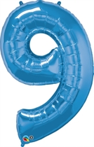 Number 9 Giant Foil Balloon - Sapphire Blue 34""