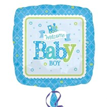 Welcome Baby Boy 18 Inch Square Foil Balloon