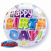 """Happy Birthday"" Patterns Bubble Balloon 22"""