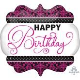 Happy Birthday Pink, Black & White SuperShape Foil Balloon