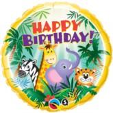 "18"" Happy Birthday Jungle Animals Foil Balloon"