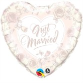 "18"" Just Married Ivory Foil Heart Balloon"