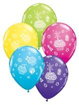 "11"" Assorted Cupcake and Stars Latex Balloons 25pk"