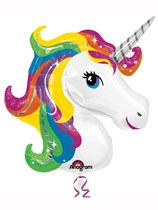 "Rainbow Unicorn Head 33"" Supershape Foil Balloon"