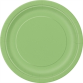 """Lime Green 7"""" Round Paper Plates 8pk"""