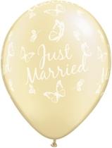 "Ivory Just Married Butterflies 11"" Latex Wedding Balloons 25pk"