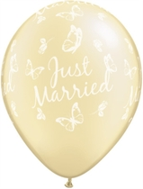 "Ivory Just Married Butterflies 11"" Latex Wedding Balloons 25pk"