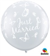 Just Married 3ft Butterfly Clear Latex Balloons 2pk