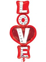 """Valentine's Day Love Stacked 39"""" Supershape Foil Balloon"""