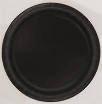 "Midnight Black 9"" Round Plates 16pk"