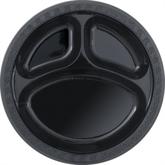 "Midnight Black 10"" Round Plastic Compartment Plates 6pk"