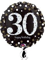 "30th Birthday Black & Gold Celebration 18"" Foil Balloon"