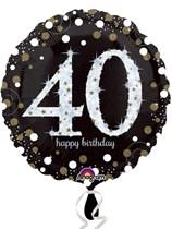 "40th Birthday Black & Gold Celebration 18"" Foil Balloon"