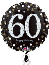 "60th Birthday Black & Gold Celebration 18"" Foil Balloon"