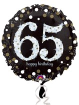 "65th Birthday Black & Gold Celebration 18"" Foil Balloon"