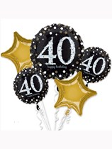 Sparkling 40th Birthday Foil Balloon Bouquet