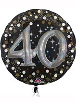 "Gold Celebration 40th Birthday 3D Supershape 36"" Foil Balloon"
