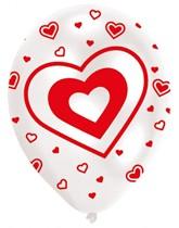 "Valentine's Hearts Red & White 11"" Latex Balloons 6pk"