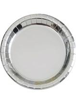 "Foil Silver 9"" Round Paper Plates 8pk"