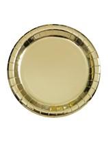 "Foil Gold 7"" Round Paper Plates 8pk"