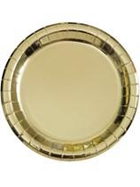 "Foil Gold 9"" Round Paper Plates 8pk"