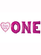 Fun to be One Pink Foil Balloon Banner 4pk