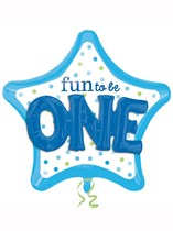 "Fun to be One Blue Star 36"" Supershape Foil Balloon"