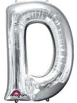 "34"" Silver Letter D Foil Balloon"