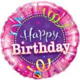 Bright Pink Happy Birthday Foil Balloon 9""
