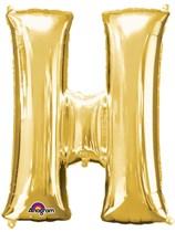 """34"""" Gold Letter H Foil Balloon"""