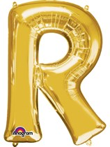 """34"""" Gold Letter R Foil Balloon"""