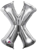 "34"" Silver Letter X Foil Balloon"