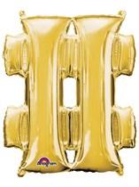 "34"" Gold Hashtag # Symbol Foil Balloon"