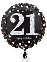 "21st Birthday Black & Gold Celebration 18"" Foil Balloon"