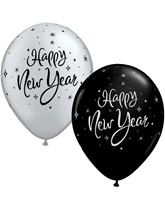 "Happy New Year Sparkle 11"" Latex Balloons 25pk"