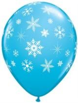 "Blue With White Snowflakes 11"" Latex Balloons - 25pk"