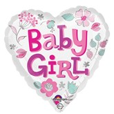 "Baby Girl Heart 18"" Foil Balloon"