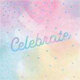 Pastel Iridescent Celebrate Lunch Napkins 16pk