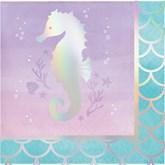 Iridescent Mermaid Seahorse Beverage Napkin 16pk