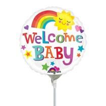 Welcome Baby Rainbow Mini Shape Foil Balloon (air fill)