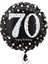 "70th Birthday Black & Gold Celebration 18"" Foil Balloon"