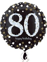 "80th Birthday Black & Gold Celebration 18"" Foil Balloon"