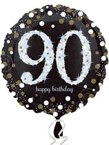 "90th Birthday Black & Gold Celebration 18"" Foil Balloon"