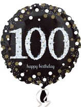 "100th Birthday Black & Gold Celebration 18"" Foil Balloon"