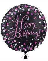 "Birthday Black & Pink Celebration 18"" Foil Balloon"