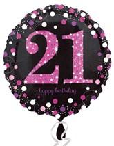 "21st Birthday Black & Pink Celebration 18"" Foil Balloon"
